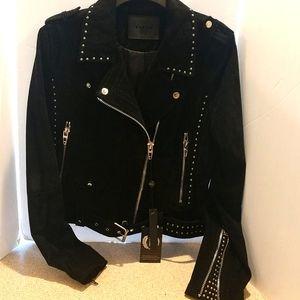 Deep Black Suede Moto Jacket Medium